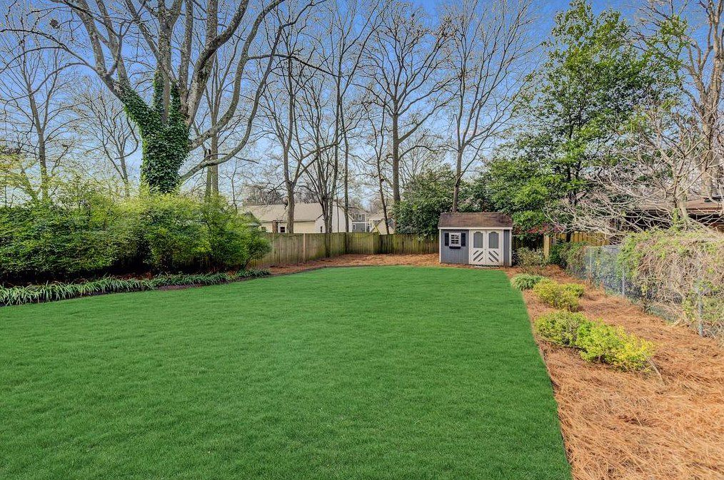 A backyard with very green grass and a little shed.