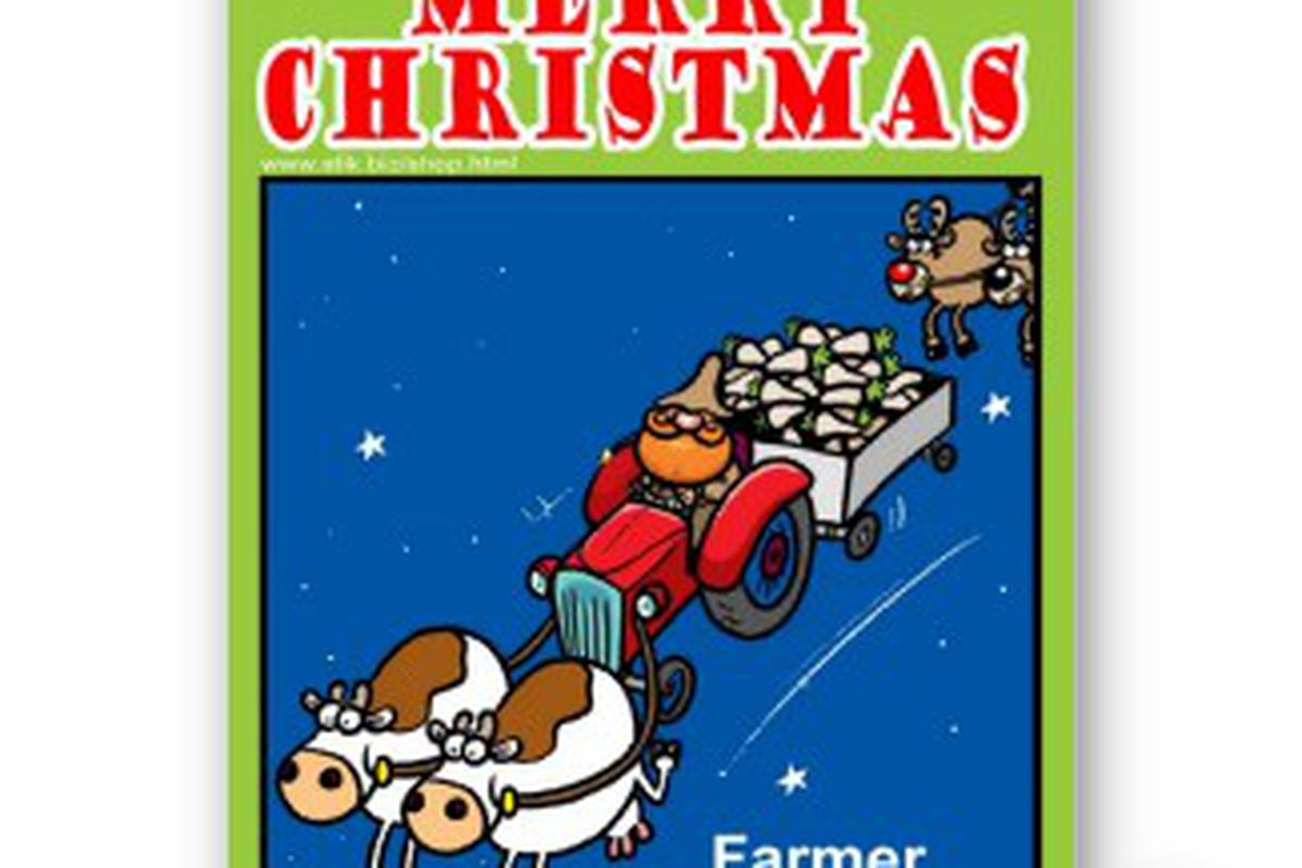 "via <a href=""http://rlv.zcache.com/farmer_christmas_card-p1379973113473389978g3x_325.jpg"">rlv.zcache.com</a>"