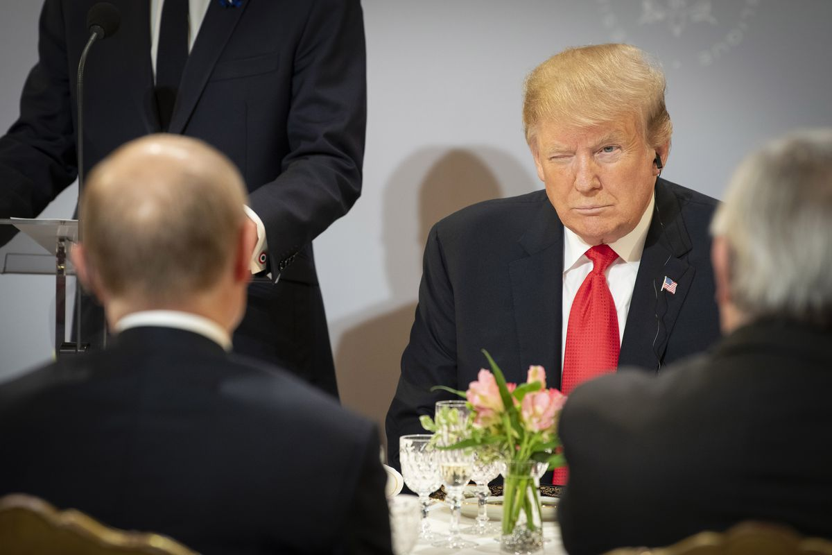 President Donald Trump meets with Russian President Vladimir Putin on November 11, 2018 in Paris.