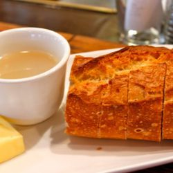 Clam Broth and Sourdough bread, served with every meal