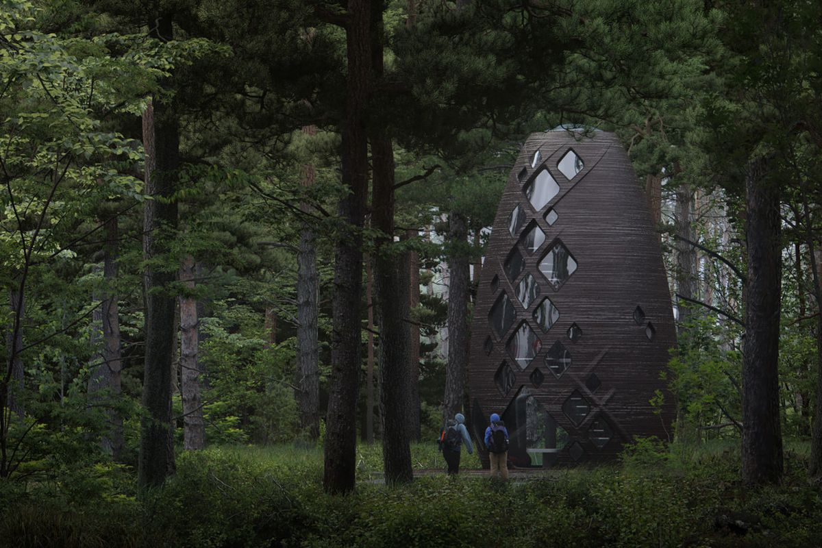 Rendering of a dark oblong pod dwelling standing amid a forest of trees.
