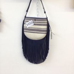 Woven and fringe bag, was $450 (prices have since been reduced)