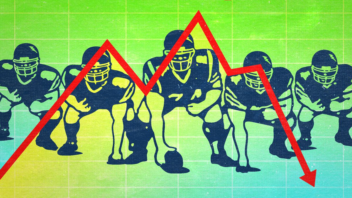 A photo illustration of NFL offensive linemen with a line graph pointing downward