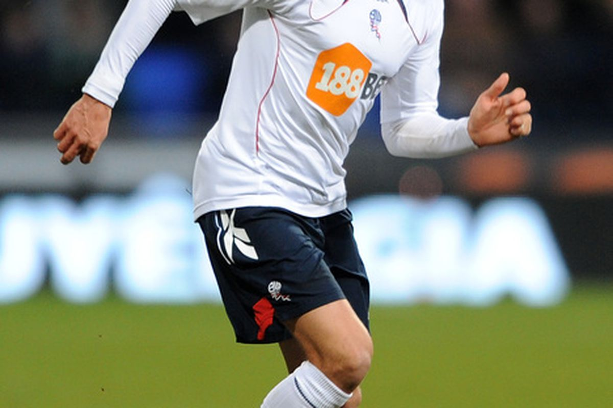BOLTON ENGLAND - JANUARY 29:  Stuart Holden of Bolton Wanderers in action during the FA Cup sponsored by E.ON 4th Round match between Bolton Wanderers and Wigan Athletic on January 29 2011 in Bolton England.  (Photo by Chris Brunskill/Getty Images)