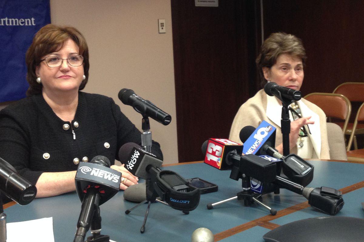 MaryEllen Elia, left, with Regents Chancellor Merryl Tisch on Tuesday.