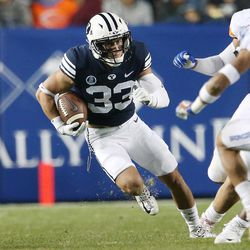 BYU wide receiver Beau Tanner (33) runs against Boise in Provo on Friday, Oct. 6, 2017.