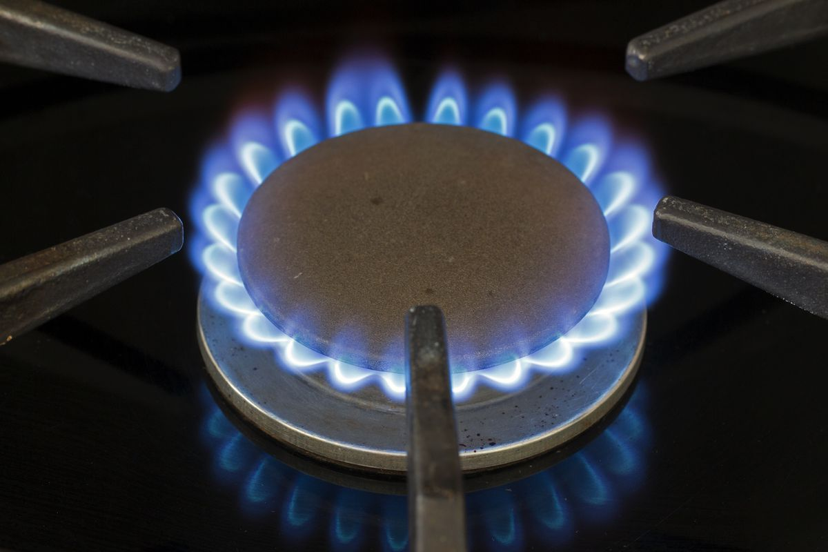 Blue natural gas flame on a domestic cooker gas hob.