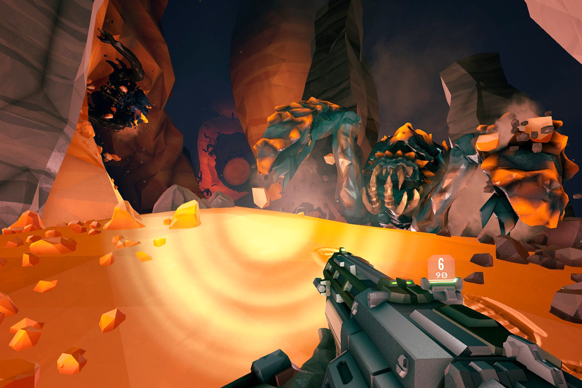 Deep Rock Galactic - a dwarf sees two big dreadnought enemies crawling out of stony corridors. They are terrifying aliens with big teeth and four limbs.