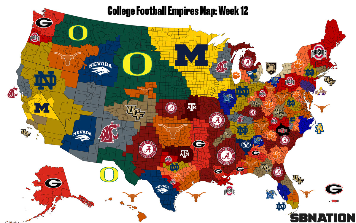 Map Of The Texas.College Football Empires Map Texas Is Suddenly Top 5 Sbnation Com