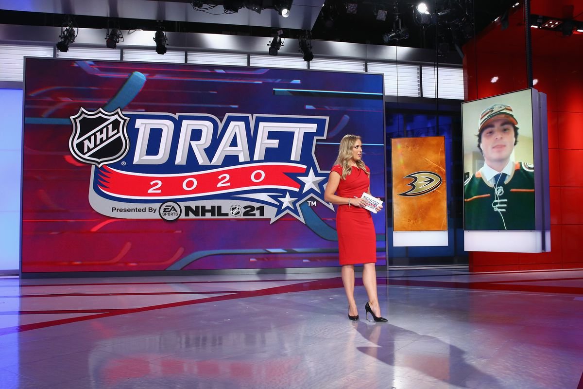 Jamie Hersch of the NHL Network interviews Jamie Drysdale from Erie of the OHL after his selection by the Anaheim Ducks in the 2020 National Hockey League Draft at the NHL Network Studio on October 06, 2020 in Secaucus, New Jersey.