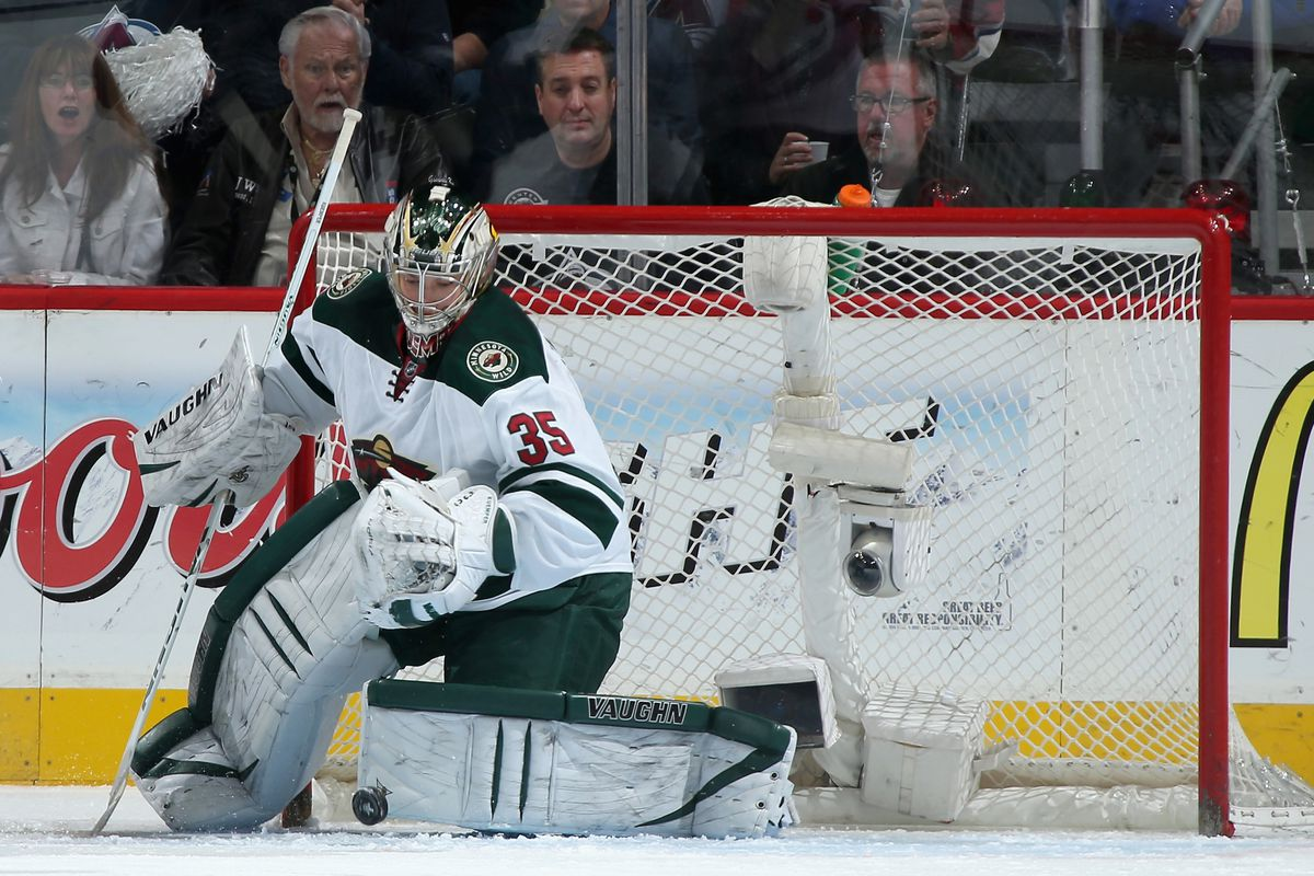 Minnesota Wild rookie goaltender Darcy Kuemper makes a save against the Colorado Avalanche at the Pepsi Center in Denver, Colorado.