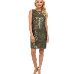 """<a href=""""http://www.6pm.com/vince-camuto-sleeveless-mesh-sequined-dress-green"""">Vince Camuto Mesh Sequined Dress</a>, $79.99 (was $188)"""