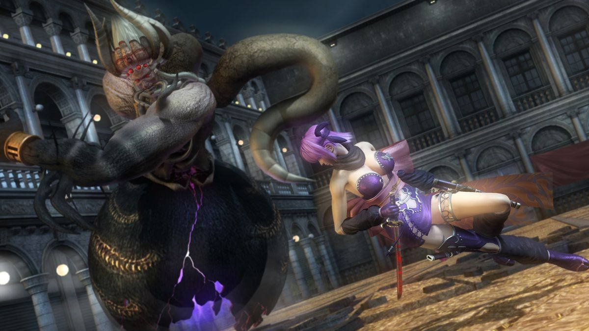 Ayane battles a giant demon in a screenshot from the Ninja Gaiden: Master Collection