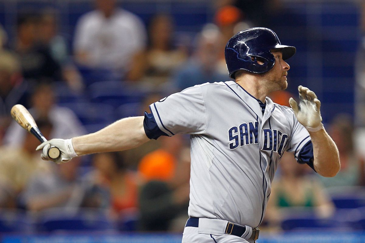 Chase Headley is still a Padre.  Looks like he will be a Padres throughout the Reds series which means he won't be traded this season. (Photo by Sarah Glenn/Getty Images)