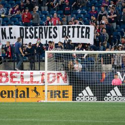 FOXBOROUGH, MA - MAY 11: New England Revolution fans voice their displeasure during the match against the San Jose Earthquakes at Gillette Stadium on May 11, 2019 in Foxborough, Massachusetts. (Photo by J. Alexander Dolan - The Bent Musket)