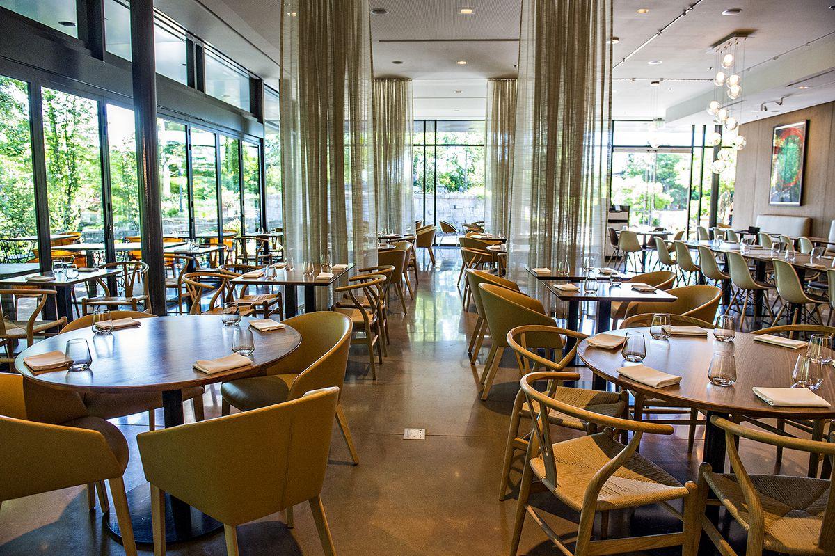 inside linton hopkins' sparkling botanical garden restaurant - eater