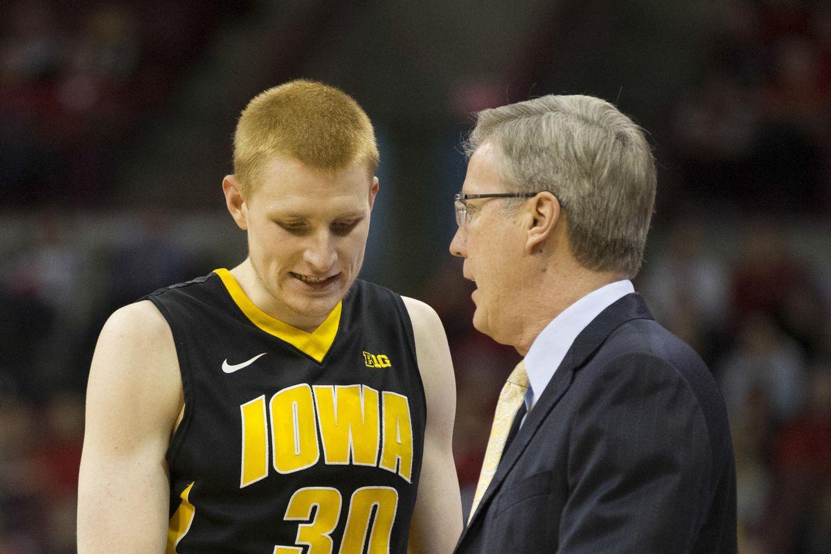 Iowa head coach Fran McCaffery and forward Aaron White