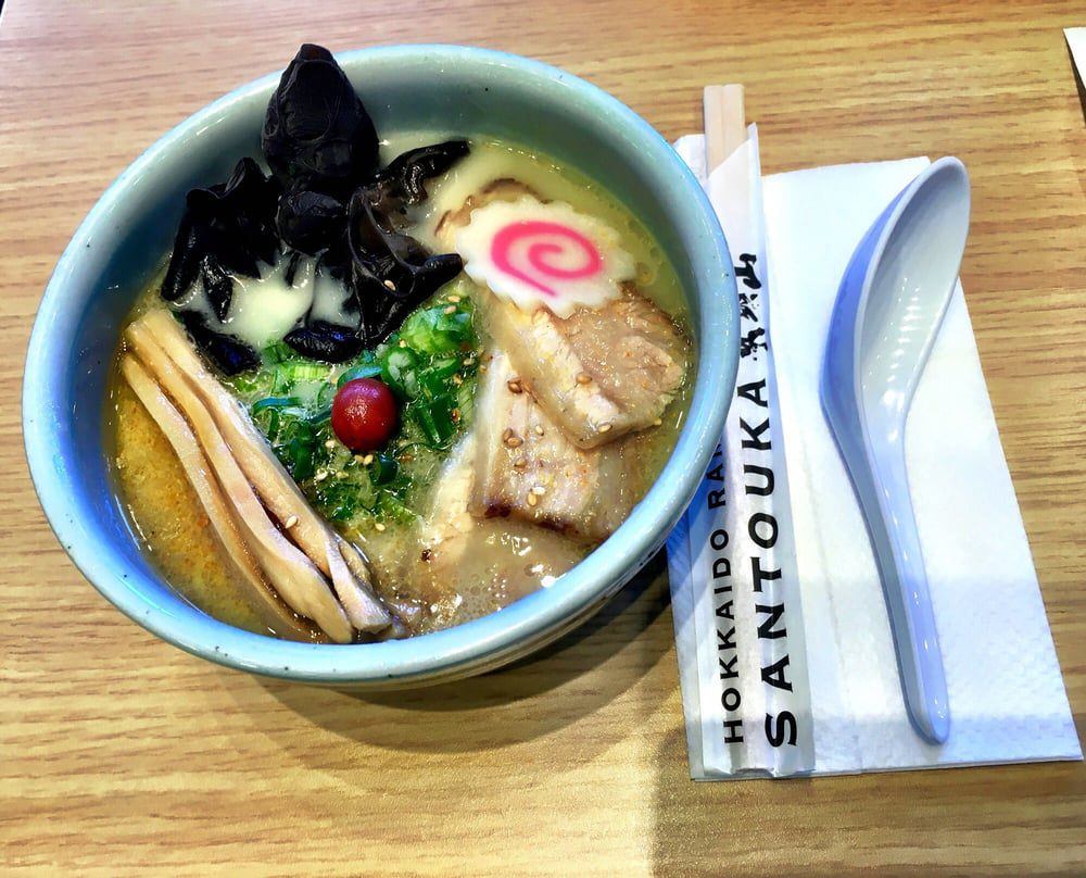 Bowl of ramen on table