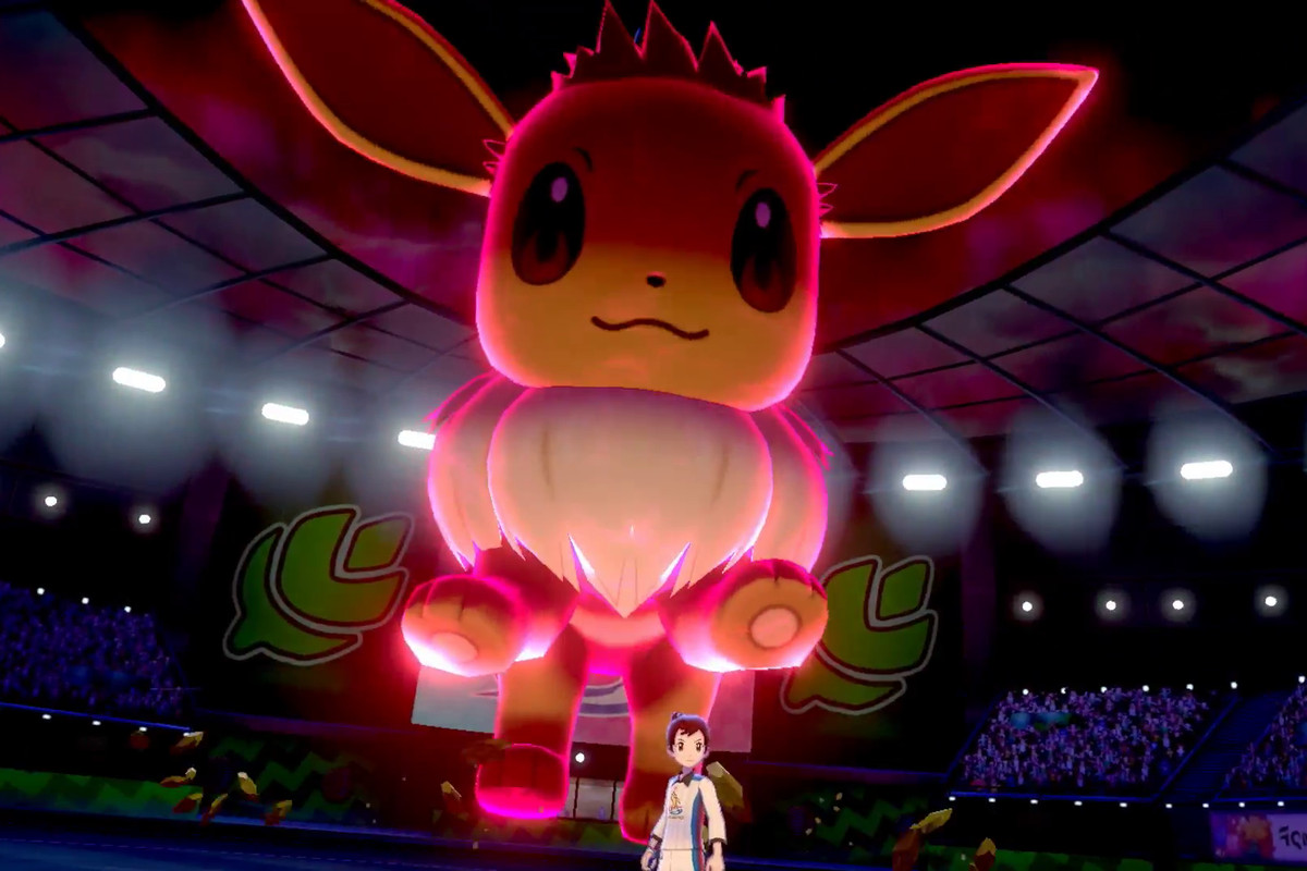 a Dynamax Eevee in an arena in Pokemon Sword/Shield