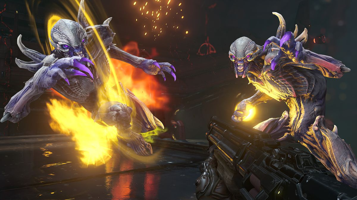 Two demons attack the Doom Slayer in Doom Eternal's DLC