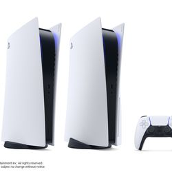 The PlayStation 5 Digital Edition, the PS5, and the DualSense controller.