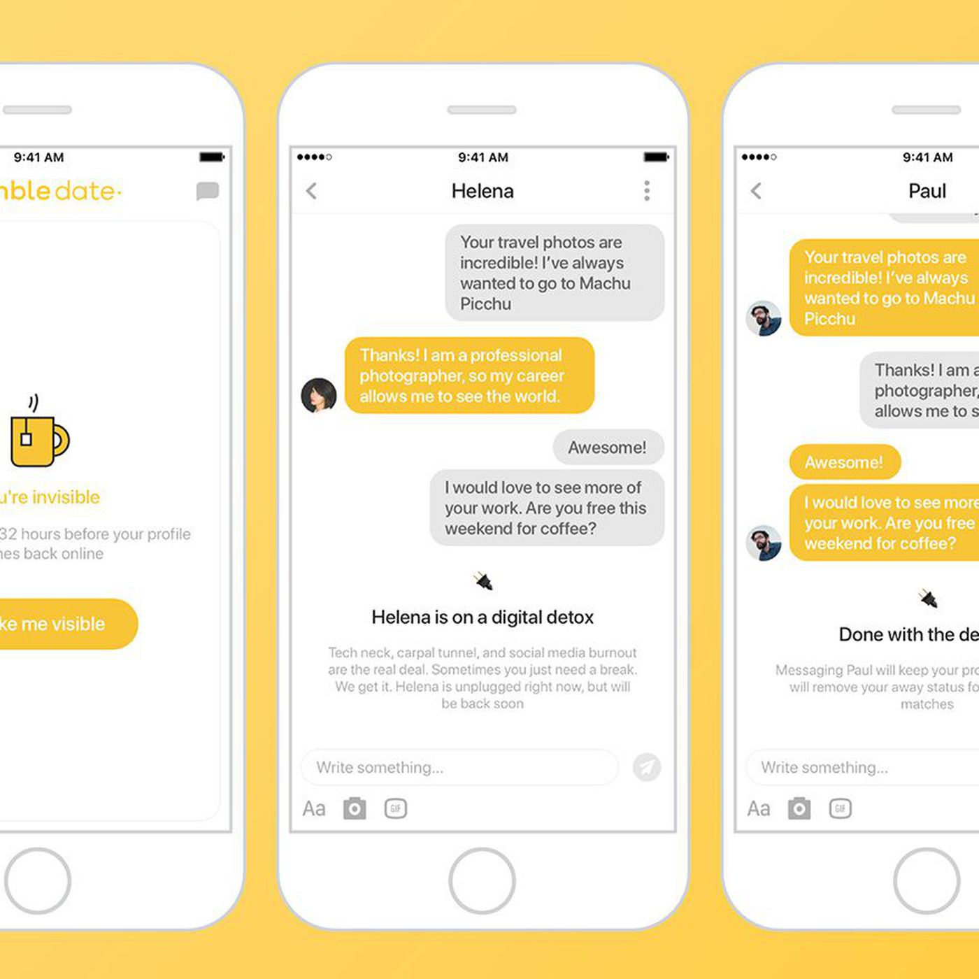 Bumble now lets you hit snooze to take a break from your