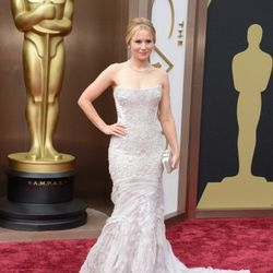 Kristen Bell's icy blue Roberto Cavalli gown was chosen to go with her role in <em>Frozen</em>. Find Cavalli at the Shops at Crystals. She tweeted that she carried a burrito in her Salvatore Ferragamo clutch (Forum Shops at Caesars and Grand Canal Shoppes