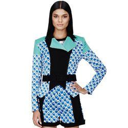 Moto Jacket in Blue Netting Print, $59.99