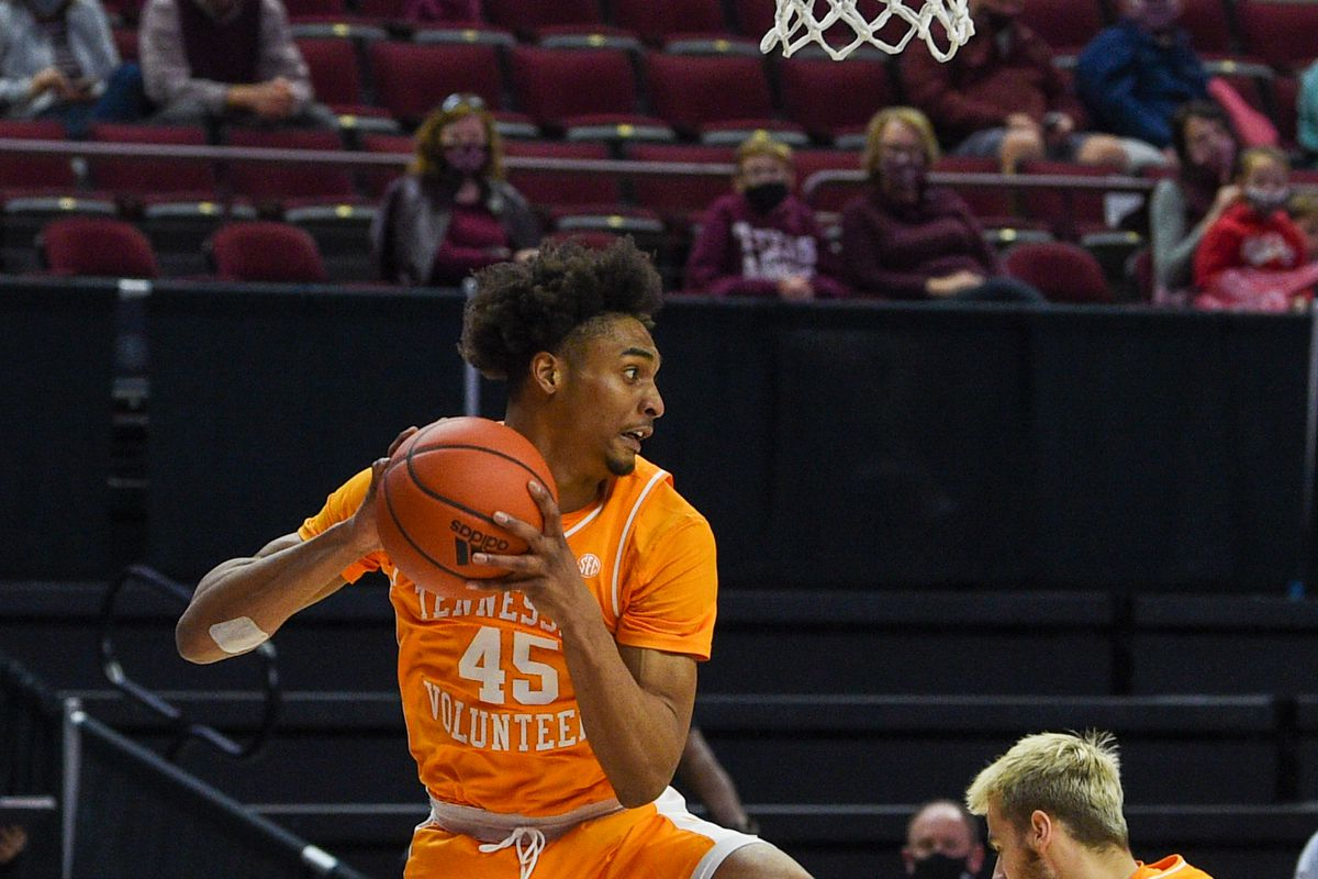 Tennessee Volunteers guard Keon Johnson snags a second half rebound during the basketball game between the Tennessee Volunteers and Texas A&M Aggies at Reed Arena on January 9, 2021 in College Station, Texas.