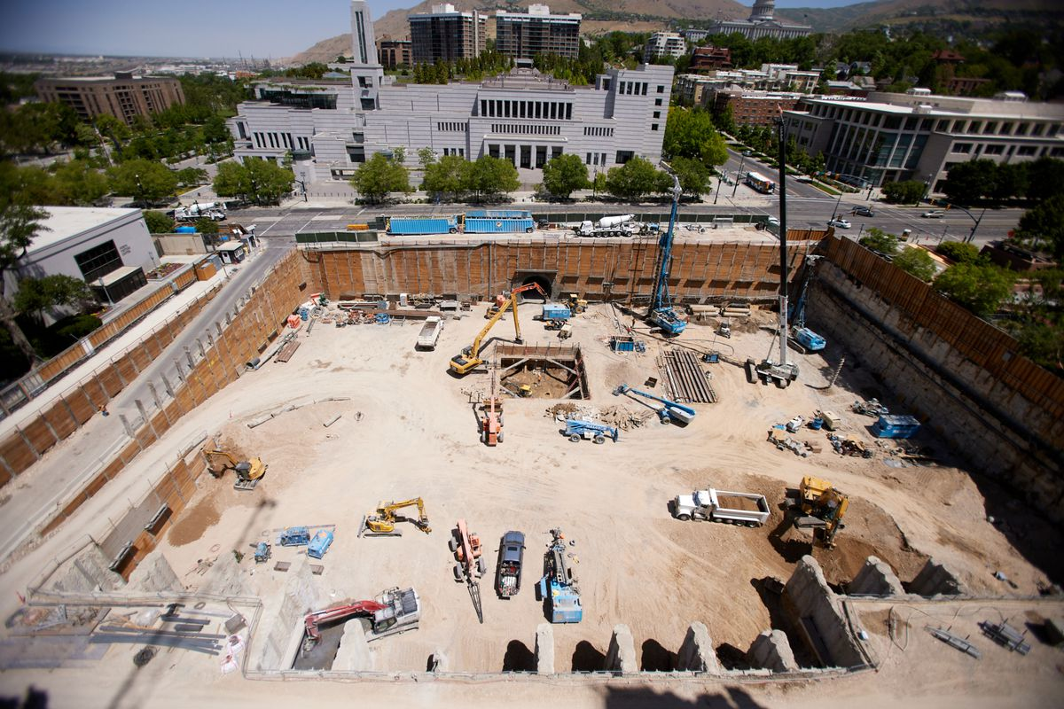 A view from the roof of the Salt Lake Temple in June 2021.