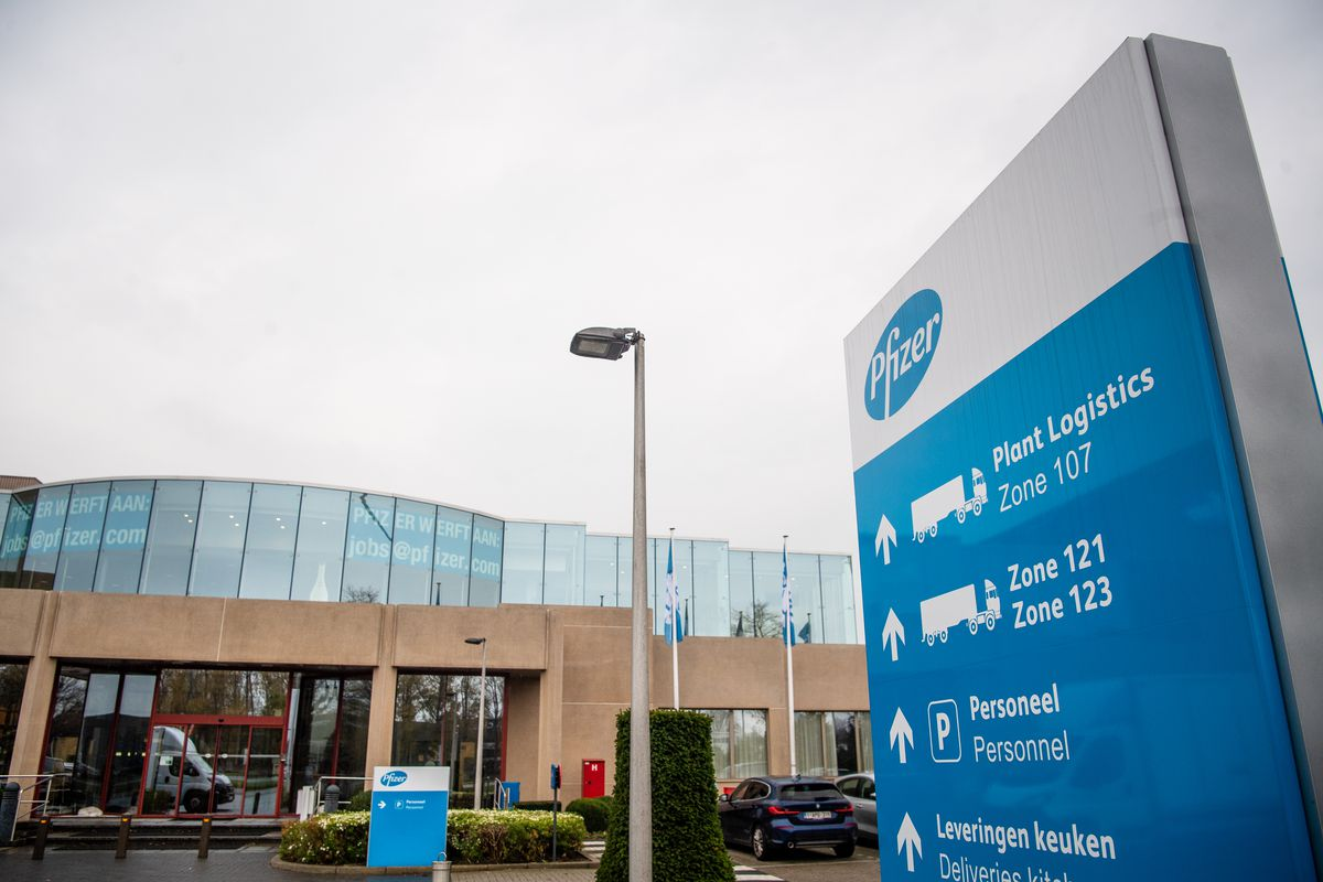 A view of the pharmaceutical company Pfizer in Puurs, Belgium.