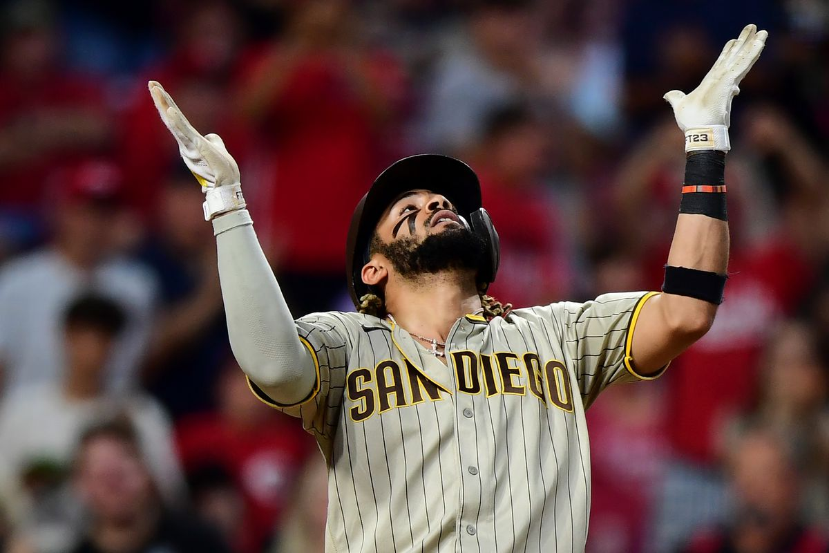 Fernando Tatis Jr. #23 of the San Diego Padres celebrates his solo home run in the third inning during their game against the Cincinnati Reds at Great American Ball Park on June 30, 2021 in Cincinnati, Ohio.