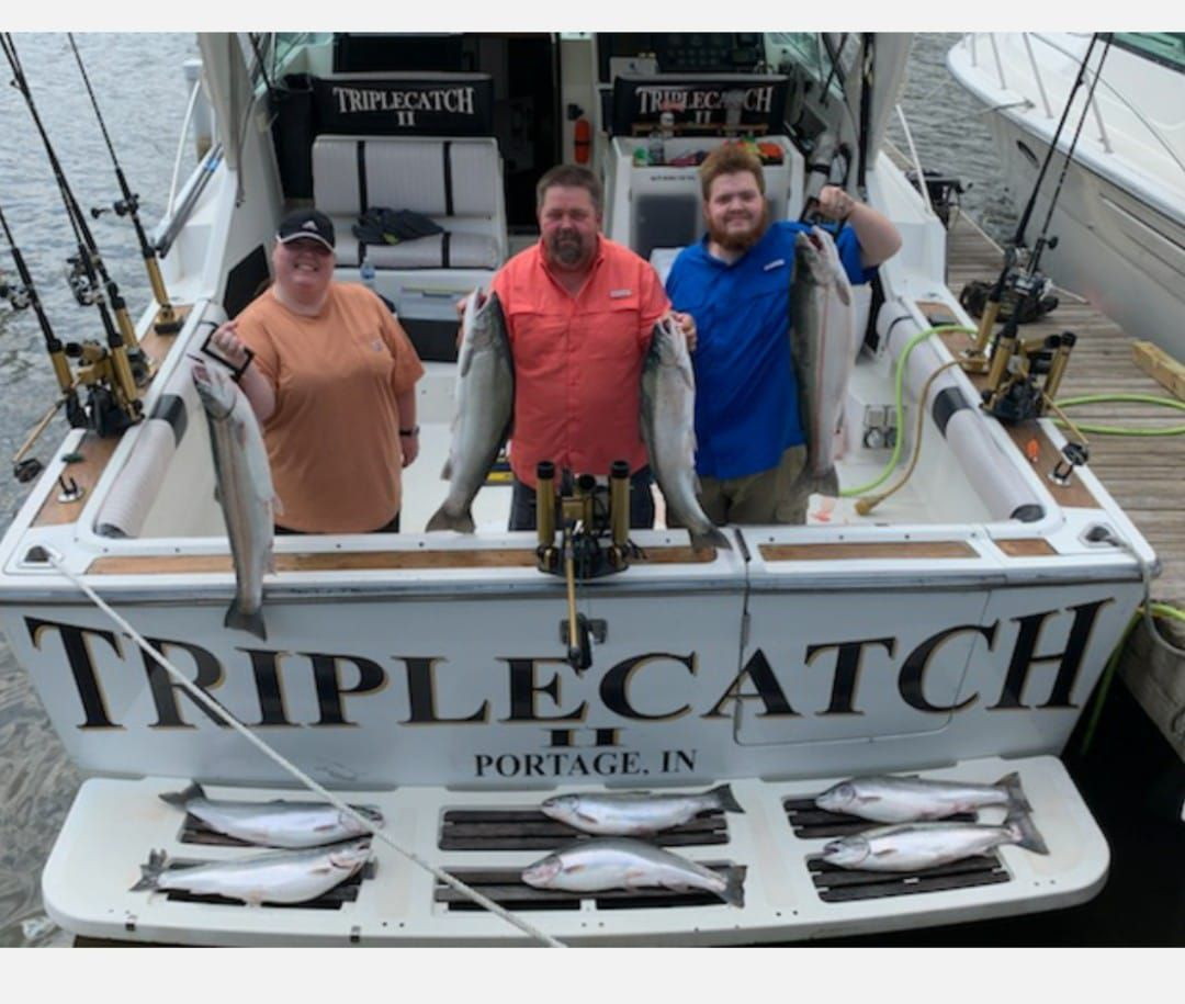 Capt. Rich Sleziak posted on the Facebook page of Triplecatch Lake Michigan Sportfishing Charters of the Hall family doing well Sunday in Skamania Mania. Provided photo