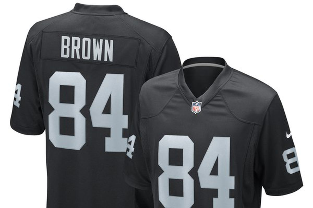 1704cee84b5 Here's what the new Antonio Brown Oakland Raiders jerseys look like ...