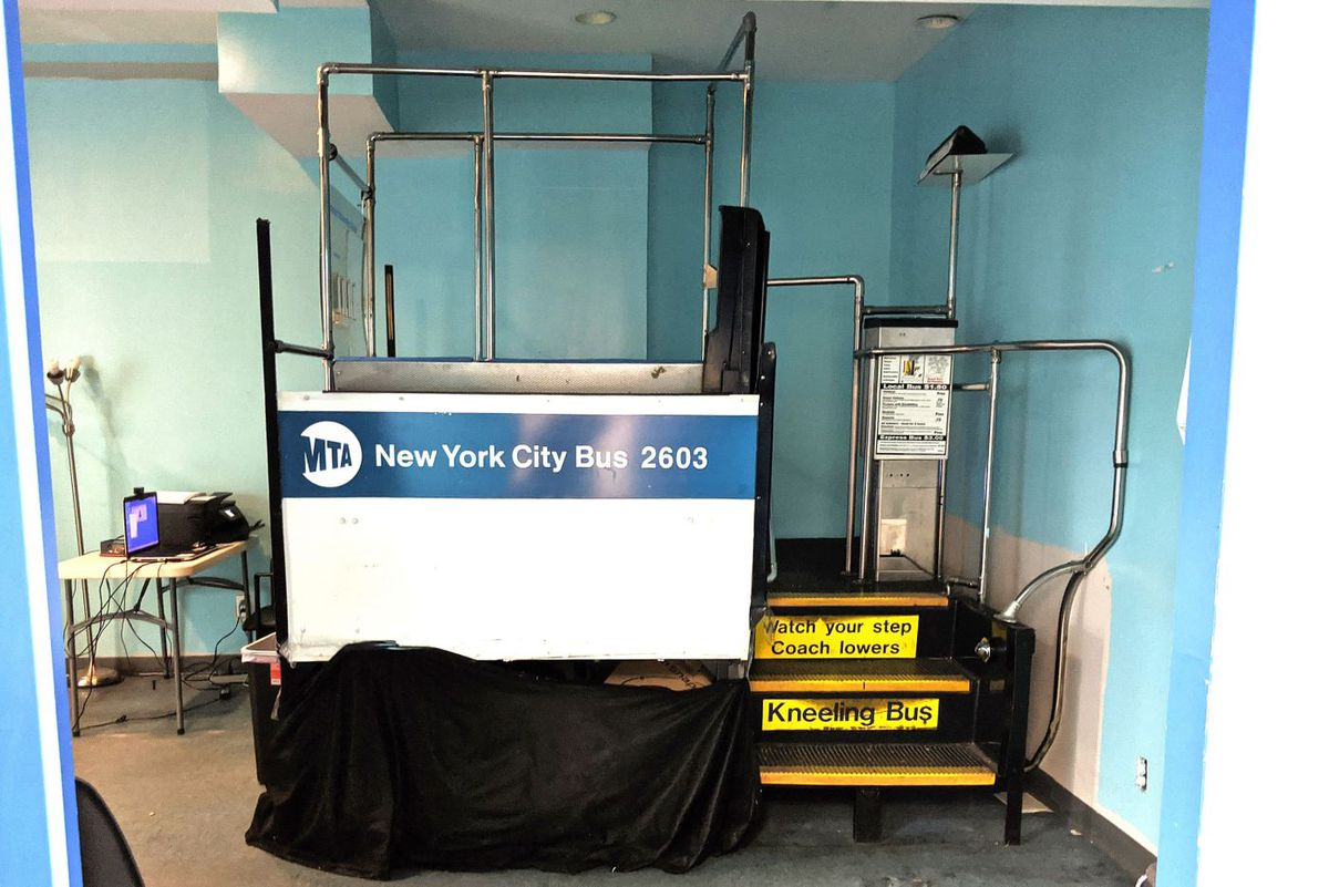 Bus simulator at Access-a-Ride assessment center in Queens