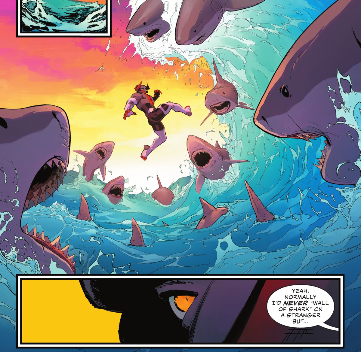"""A horned bad guy looks up in alarm as he realizes a giant wave is about to crash on him, and that wave is full of sharks. """"Yeah, normally I'd never 'wall of shark' on a stranger but..."""" says Aquaman, in Justice League #59, DC Comics (2021)."""