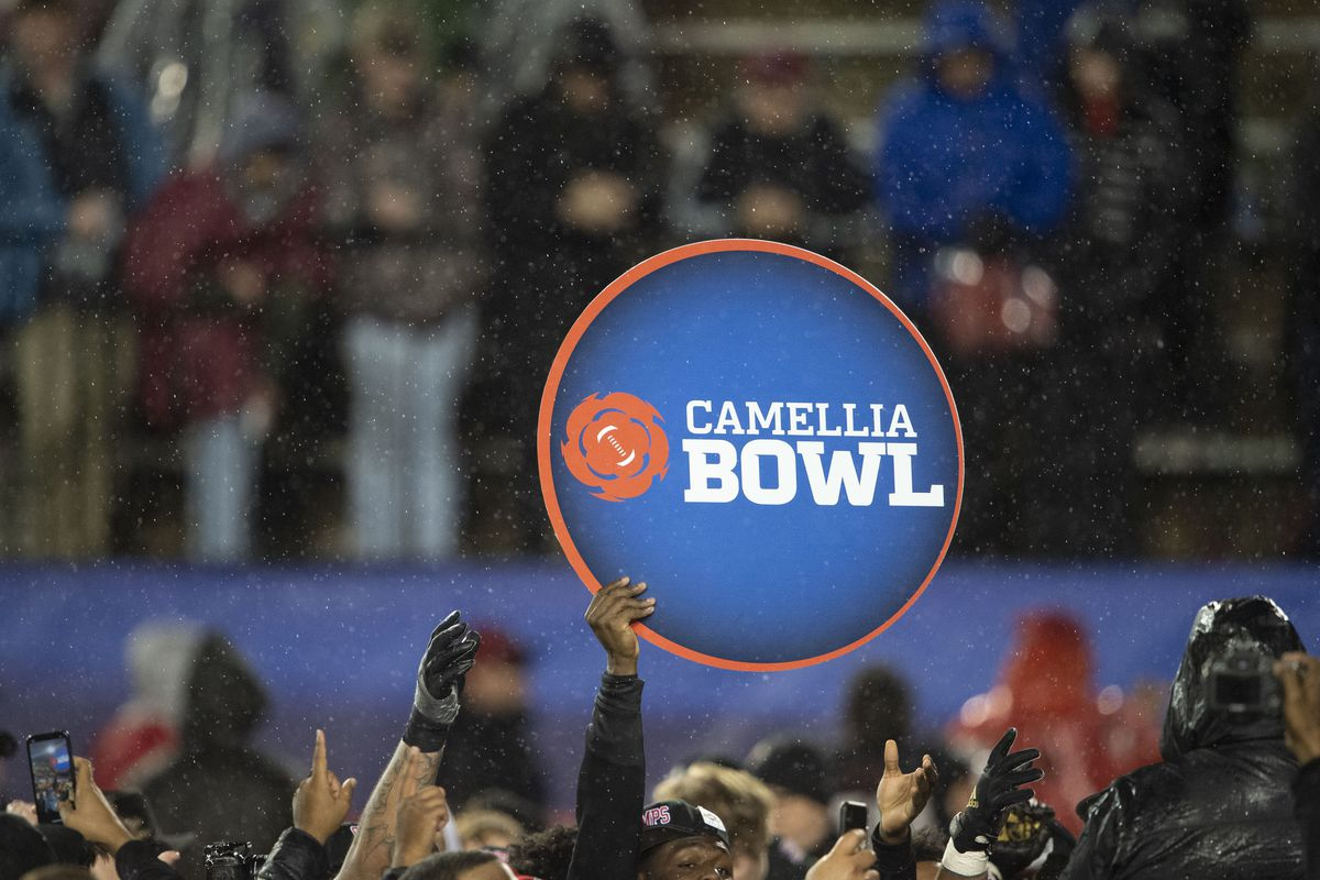 General view of the Camellia Bowl sign during the matchup between the Arkansas State Red Wolves and the FIU Golden Panthers in the Camellia Bowl at the Crampton Bowl on December 21, 2019 in Montgomery, Alabama.