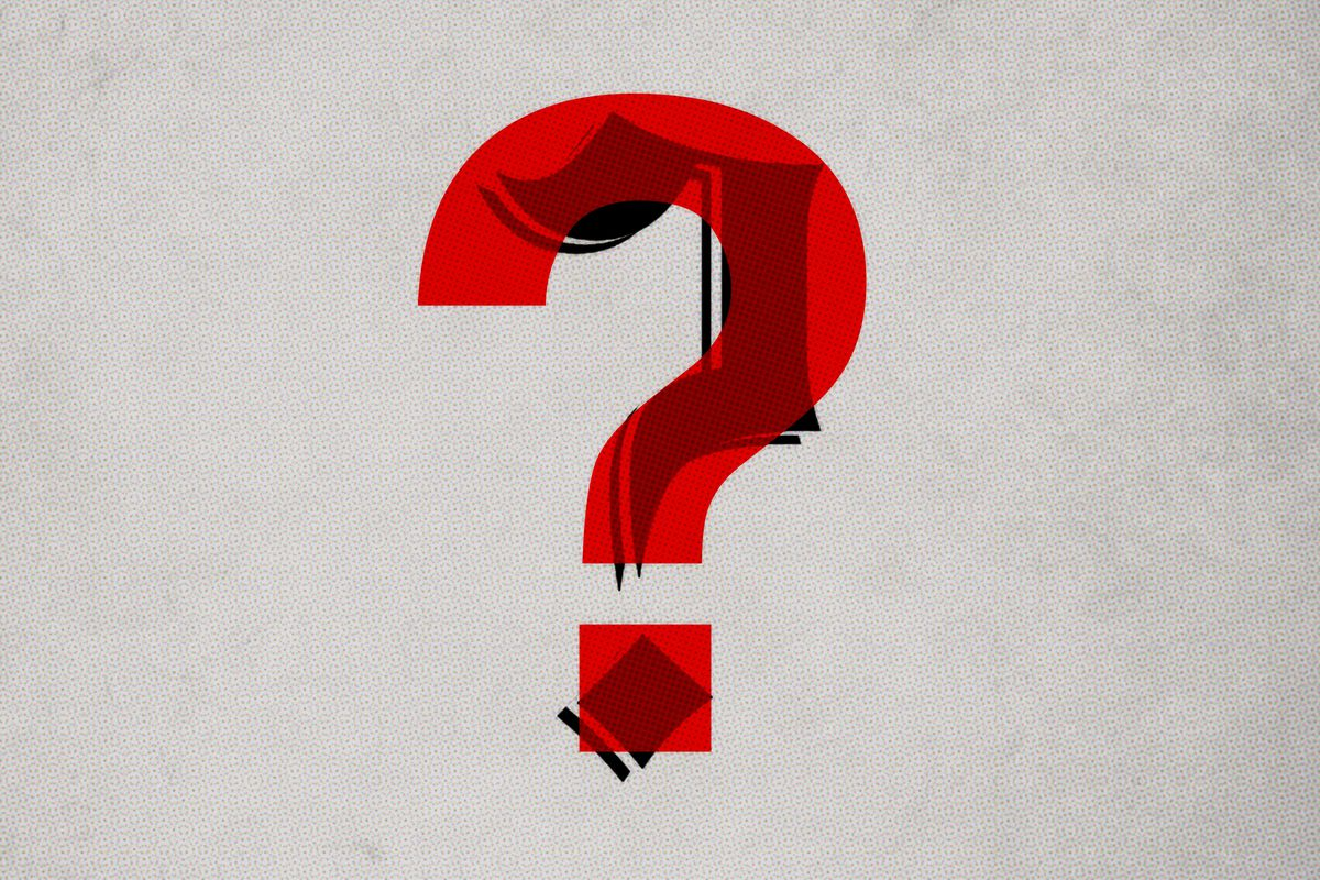 A black question mark in the Washington Post's typeface covered by a read question mark in Helvetica
