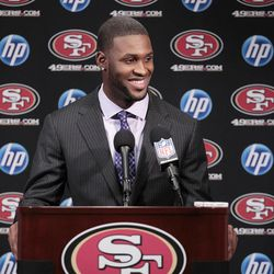 San Francisco 49ers first-round draft pick A.J. Jenkins smiles during an NFL football news conference at 49ers headquarters in Santa Clara, Calif., Friday, April 27, 2012.