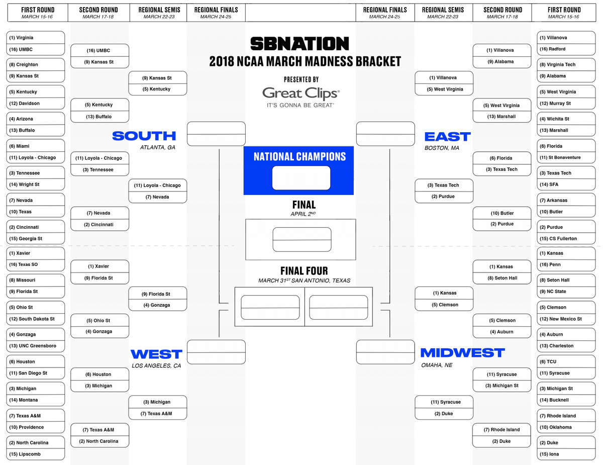 March Madness 2018: Download updated NCAA bracket before Sweet 16 ...