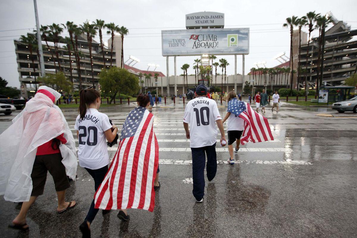 June 8, 2012; Tampa FL, USA; USA Soccer fans walk to Raymond James Stadium before the match against Antigua & Barbuda. Mandatory Credit: Matt Stamey-US PRESSWIRE