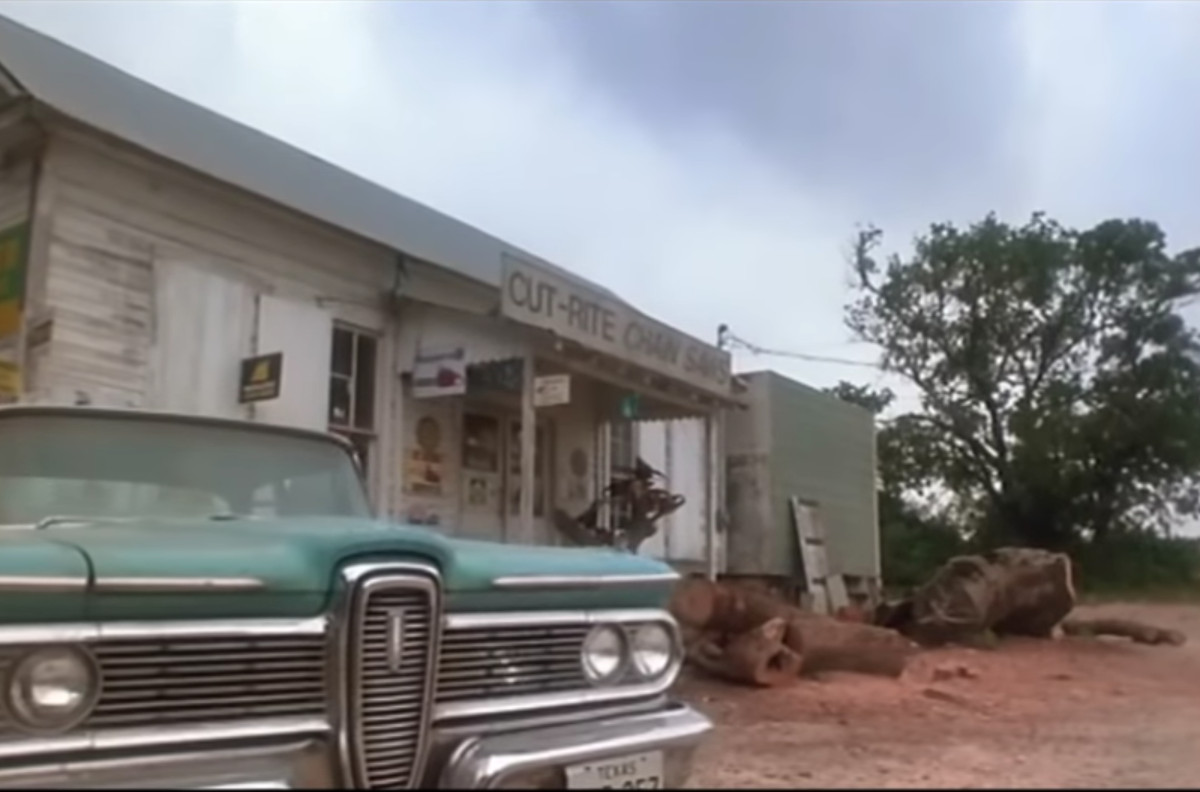 Mean Eyed Cat's storefront played at Cut Rite Chain Saws in Texas Chainsaw Massacre 2