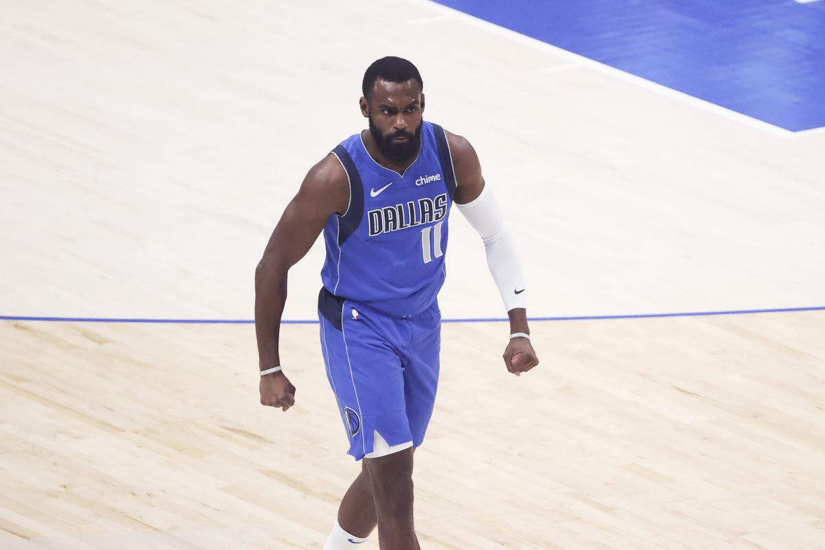 Dallas Mavericks forward Tim Hardaway Jr. (11) reacts after scoring during the first quarter against the LA Clippers during game six in the first round of the 2021 NBA Playoffs at American Airlines Center. Mandatory Credit: Kevin Jairaj