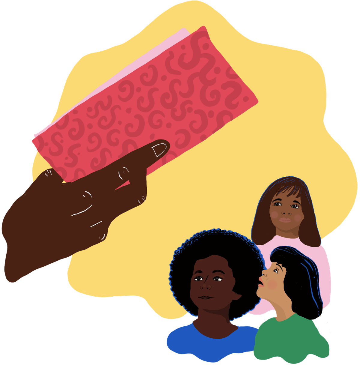A child care worker's hand holds a book while reading to three young girls
