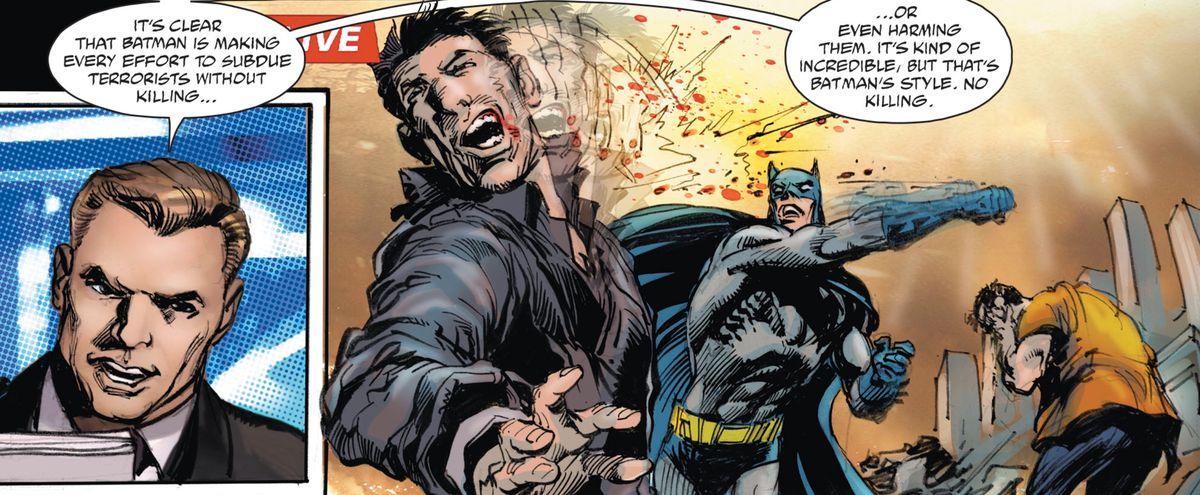 Batman slugs a terrorist while a news anchor narrates, in Batman vs. Ra's Al Ghul #1, DC Comics (2019).