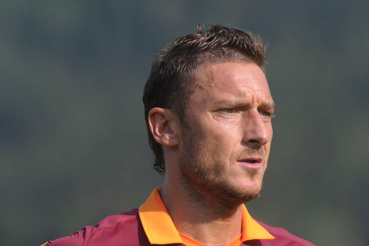 BOLZANO, ITALY - JULY 14: Francesco Totti of AS Roma looks on during a preseason friendly match between AS Roma and Gaz Metan Medias on July 14, 2012 in Riscone near Bolzano, Italy.  (Photo by Dino Panato/Getty Images)