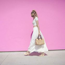 """Liz of <a href=""""http://www.lateafternoonblog.com/"""">Late Afternoon</a> is wearing an Ann Taylor skirt, a Topshop top, Pour La Victoire shoes, a Threadsense necklace and sunglasses from Etsy."""