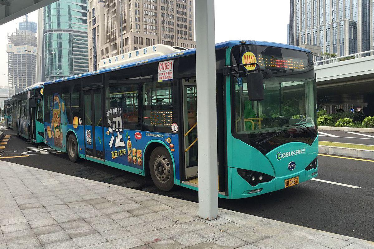 A BYD electric bus in Shenzhen.