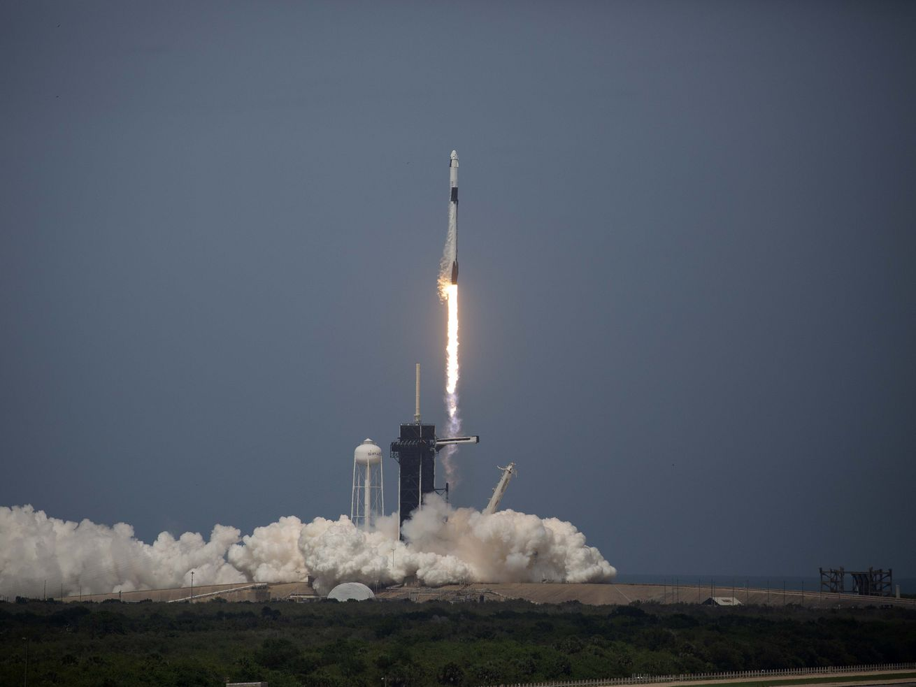 The SpaceX Dragon Capsule Demo-2 launches