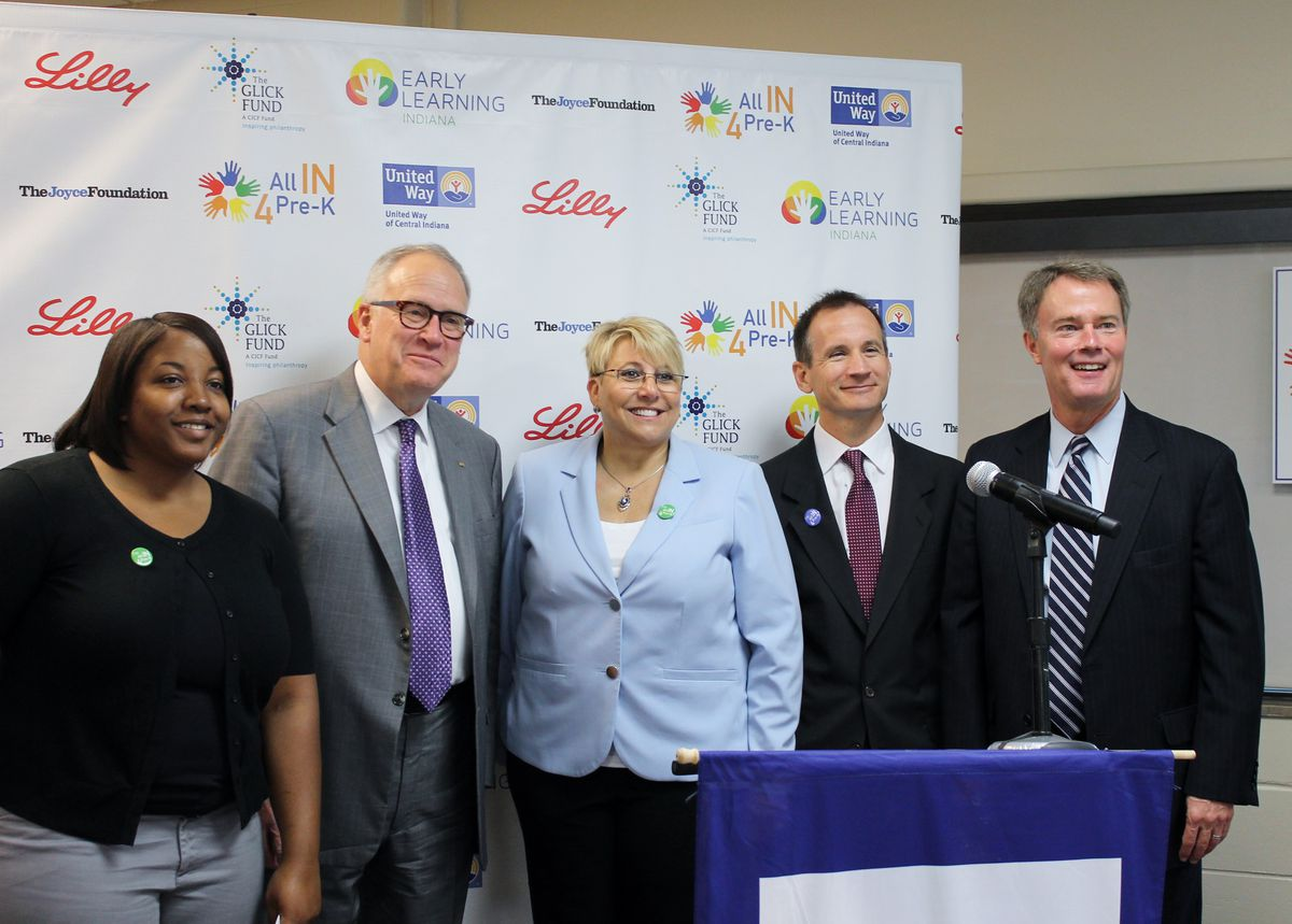 """Local business and civic leaders join forces to push for an expansion of preschool options for Hoosier families through lobbying efforts and the launch of the """"All IN 4 Pre-K"""" awareness campaign."""